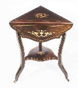 Tavolino occasionale antico con ribaltina tripla edoardiana-5
