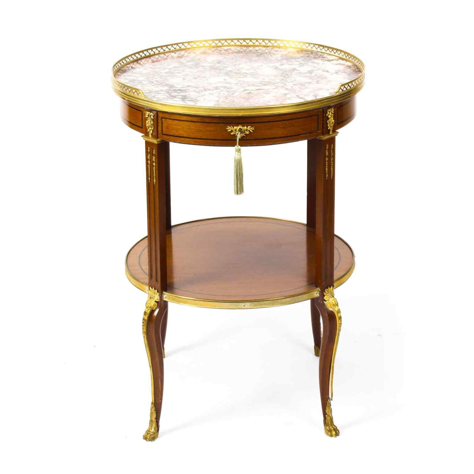 Tavolo occasionale antico in marmo francese e Ormolu, XIX se