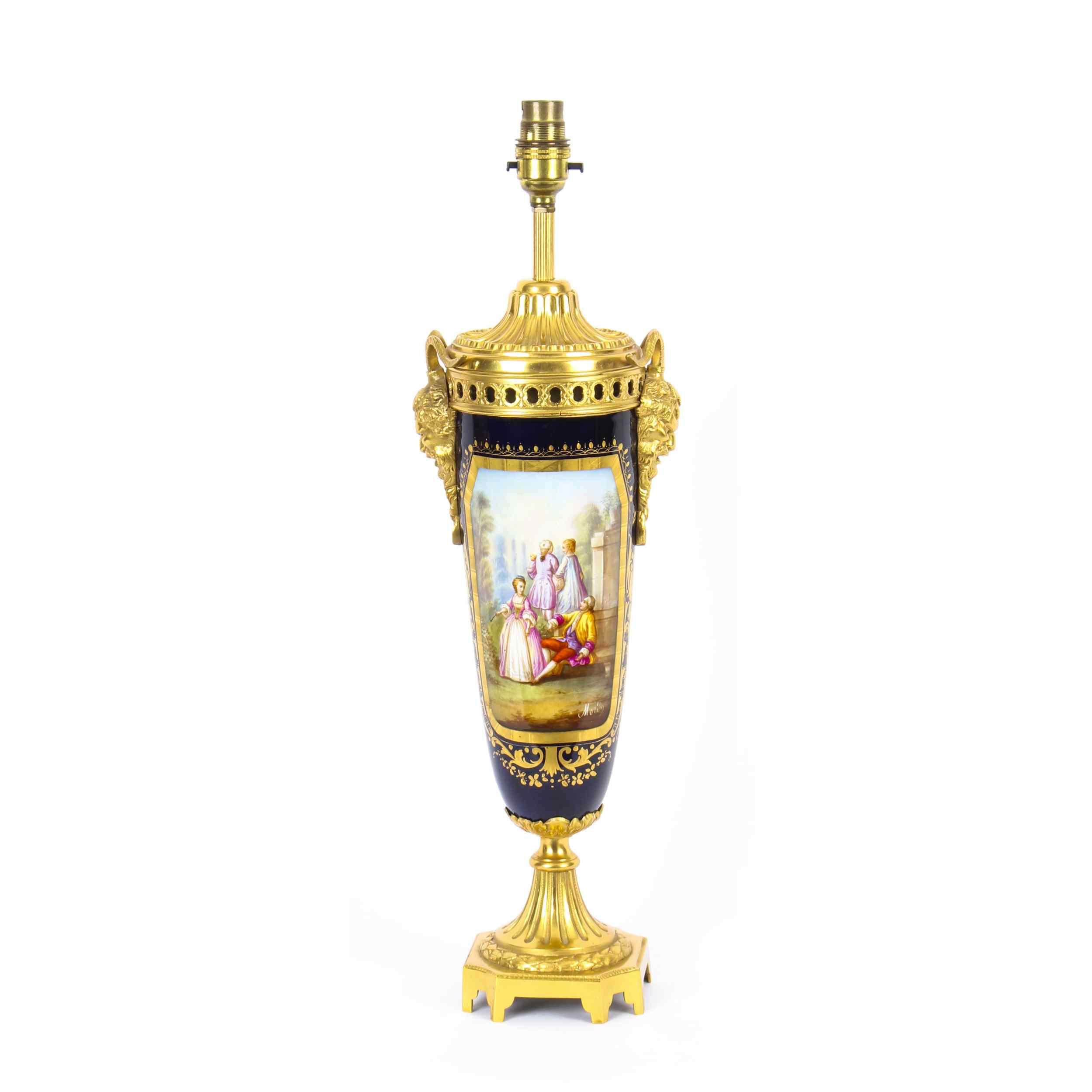 Antique Sevres Porcelain Ormolu Table Lamp 19th C