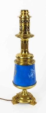 Antique Pair French Bleu Celeste Sevres Vases Lamps 19th C-3
