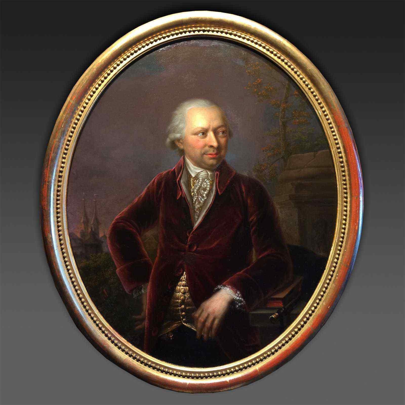 Portrait d'homme, de nuit - daté 1788, Johann Georg Zell (17
