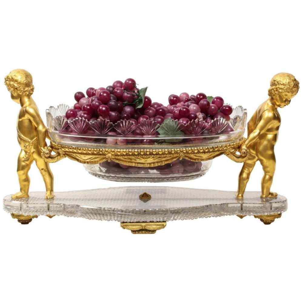 Centrotavola Ormolu e vetro intagliato francese di Baccarat