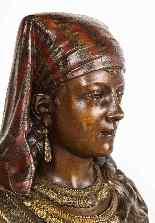 Uno squisito busto in bronzo orientalista multi-patinato fra-17