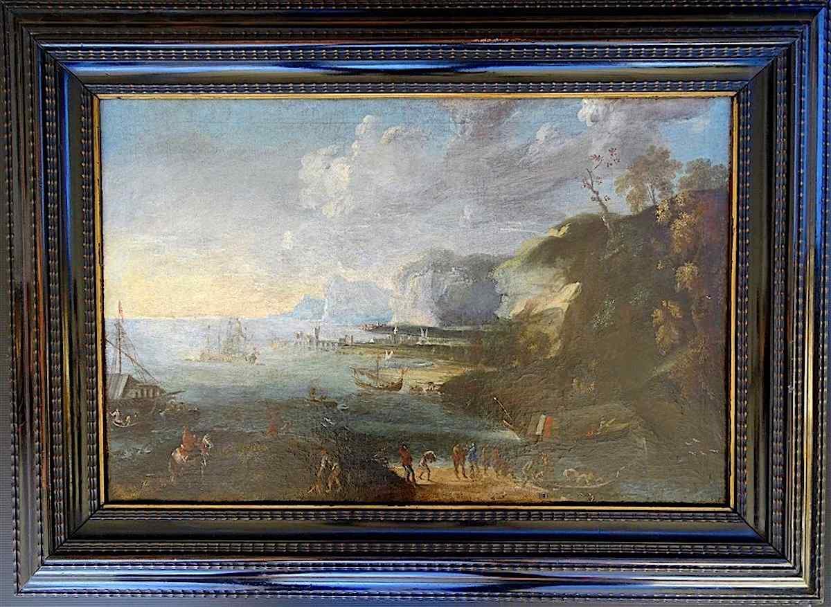 Joos II De Momper 1564-1635 Att. Importante paesaggio maritt