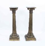 Paire de piédestaux de colonne corinthienne antique c.1900-3