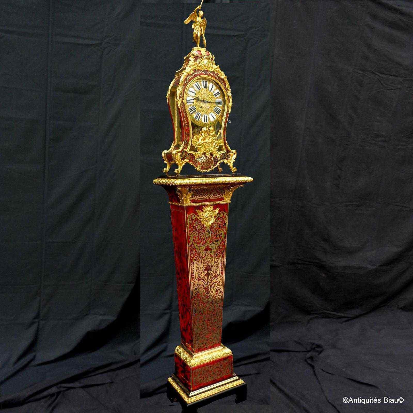 Horloge sur gaine de 2m35 marqueterie Boulle ép Napoléon 3