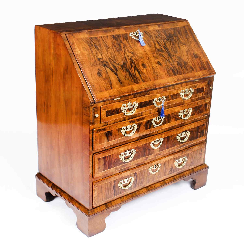 Antique George II Burr & Figured Walnut Bureau 18th C