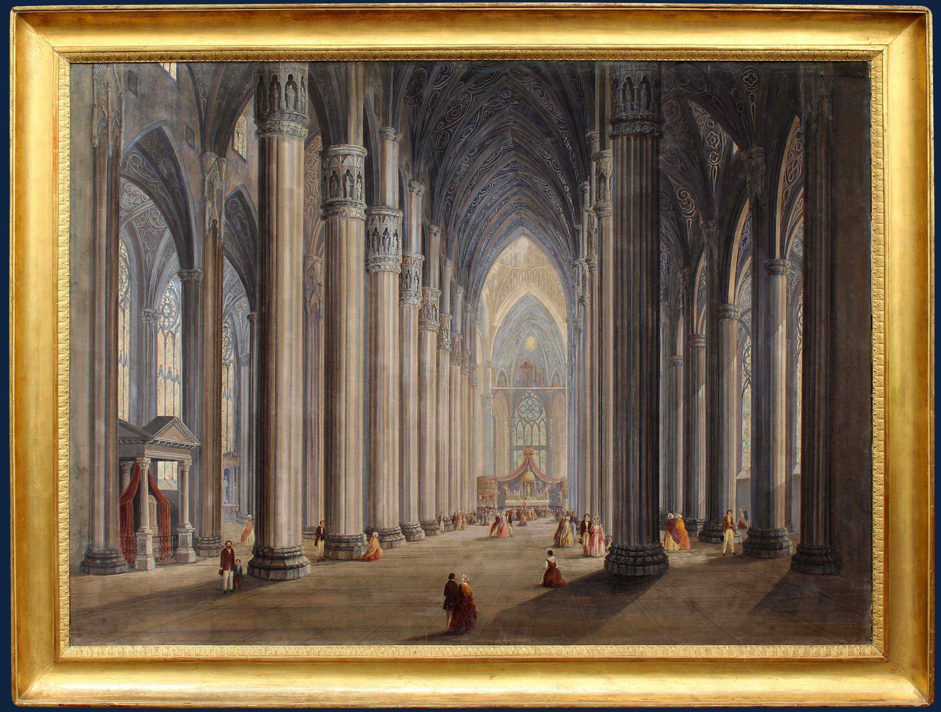 Antonietta Bisi,  Interno del Duomo di Milano, Tempera