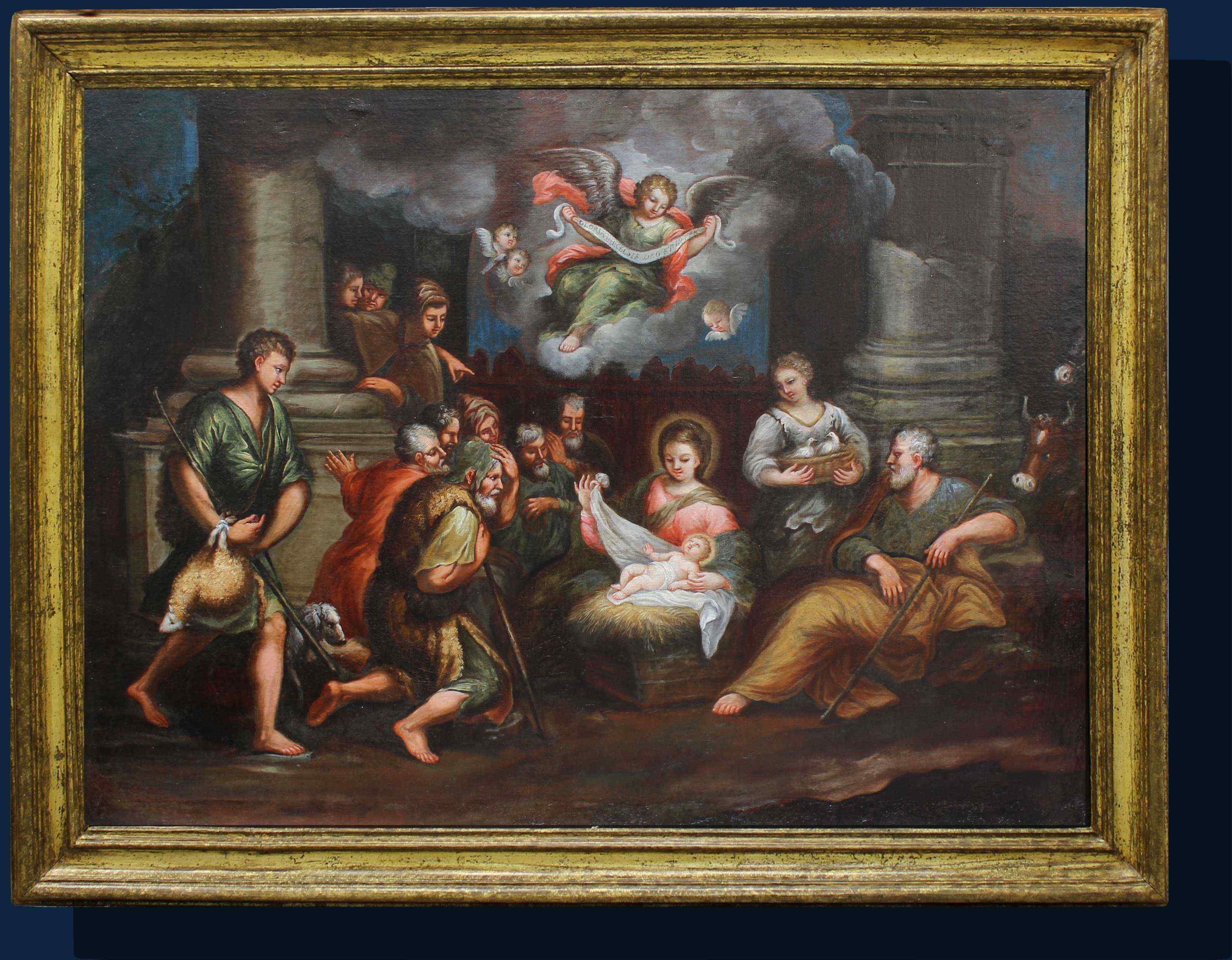 Scuola romana, XVII SECOLO, ADORAZIONE DEI PASTORI, OLIO