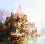 Dipinto ad olio su tela antico paesaggio XIX secolo-4