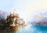 Dipinto ad olio su tela antico paesaggio XIX secolo-0