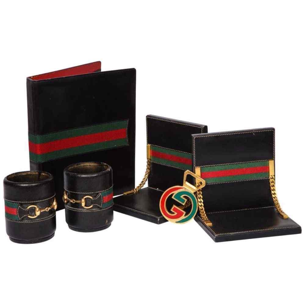 Rare Vintage Gucci 8 Piece Executive Italian Leather Desk Se