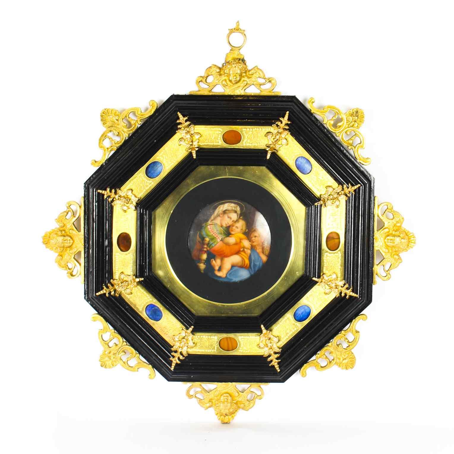 Madonna con Bambino in miniatura dipinta a mano antica itali