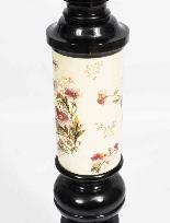 Paire Antique Grands Piédestaux Ebonisés et Porcelaine C1880-6