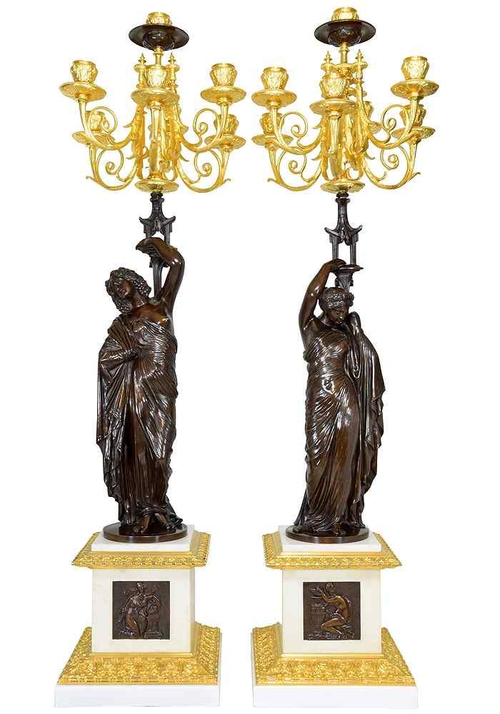 Grande paire de candélabres à l'antique signée James Pradier