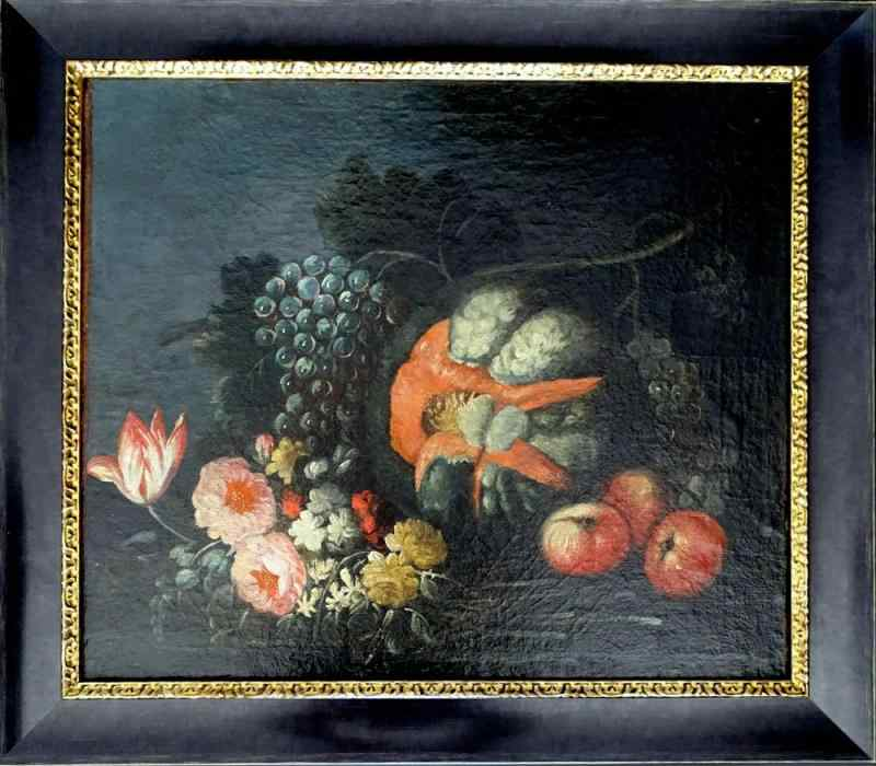 17th Dutch Still Life with Flowers and Fruits