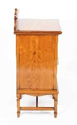 Armoire de Chevet Victorienne Antique en Satin et Marqueté 1-0