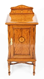 Armoire de Chevet Victorienne Antique en Satin et Marqueté 1-1