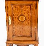 Armoire de Chevet Victorienne Antique en Satin et Marqueté 1-5