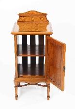 Armoire de Chevet Victorienne Antique en Satin et Marqueté 1-7