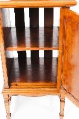 Armoire de Chevet Victorienne Antique en Satin et Marqueté 1-8