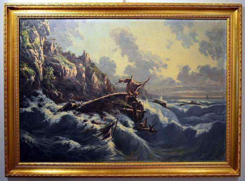 Sea Storm, Signed And Dated 'Jules Izier, 1902'