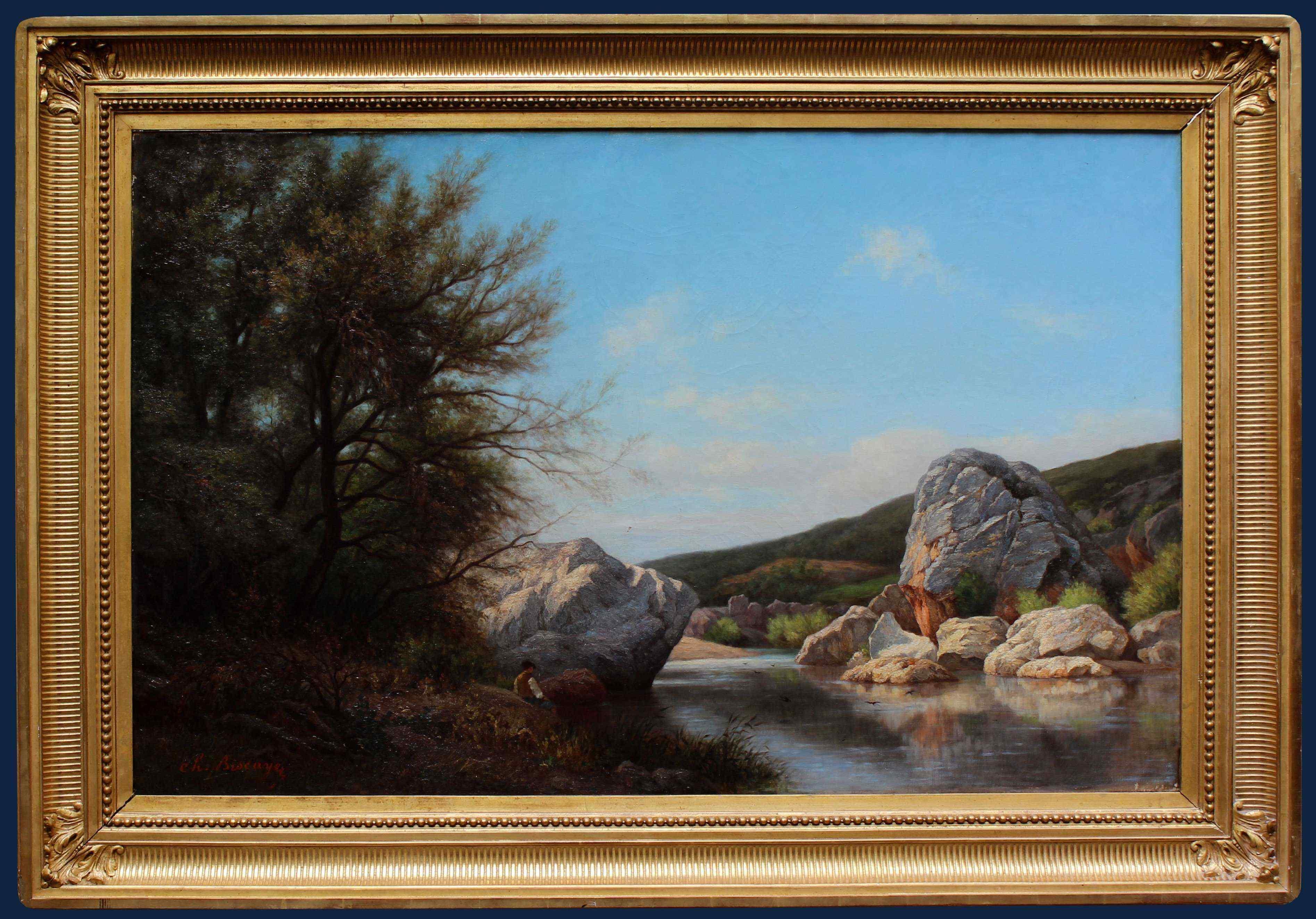 Charles Biscaye (Francia - XIX secolo), Paesaggio con fiume