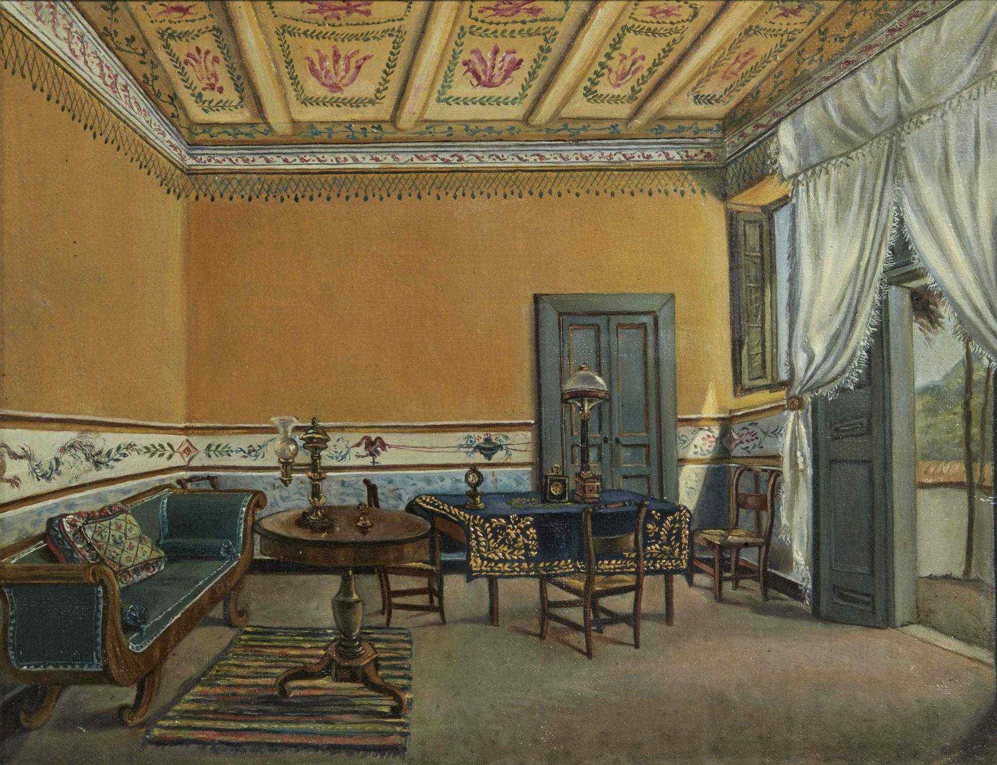 Interoir View, un salone a Ischia, Scuola Italiana 1829