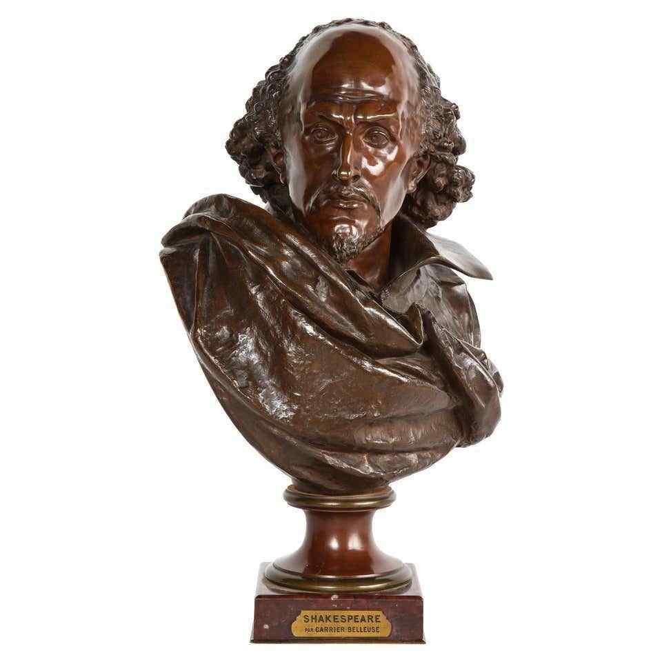 Raro busto in bronzo francese di William Shakespeare di Carr