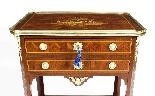 Tavolo da lavoro antico in legno e intarsio francese del XIX-2