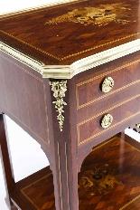 Tavolo da lavoro antico in legno e intarsio francese del XIX-3