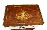 Tavolo da lavoro antico in legno e intarsio francese del XIX-4