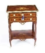 Tavolo da lavoro antico in legno e intarsio francese del XIX-1