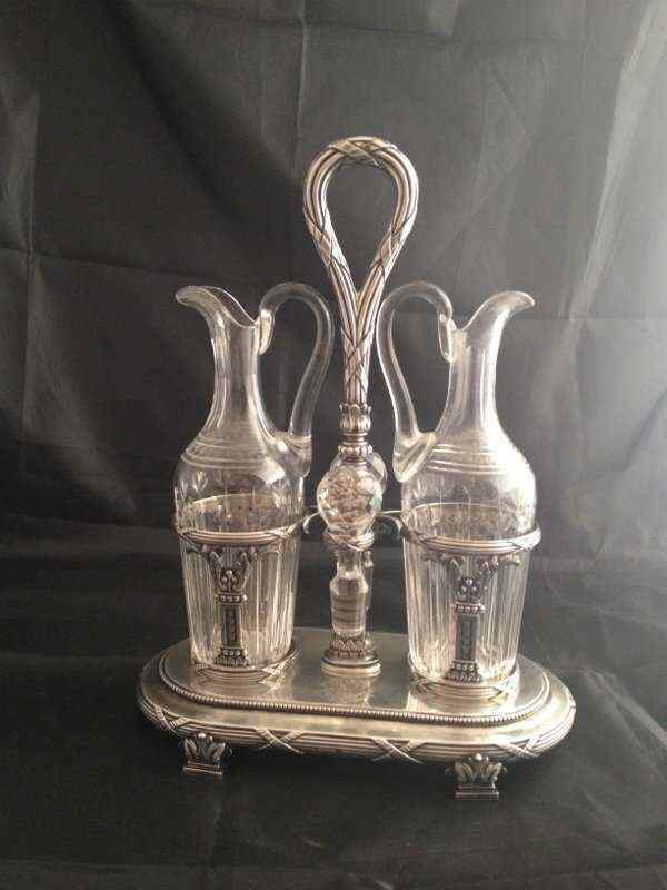Cruet, Luigi XVI, l'argento sterlina, cristallo, MO Jean Bap