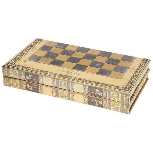 Raro gioco di scacchi e backgammon in argento dorato dorato
