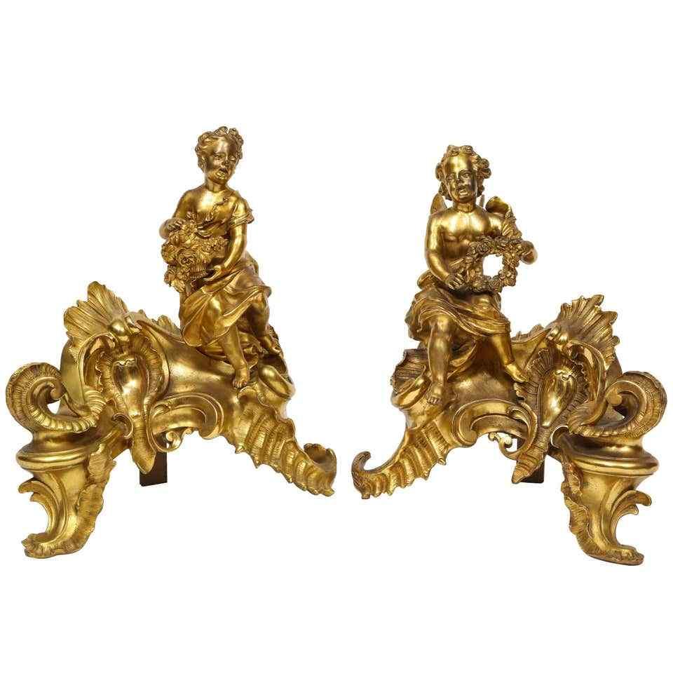 Coppia di chinet Ormolu in bronzo dorato stile Luigi XV fran