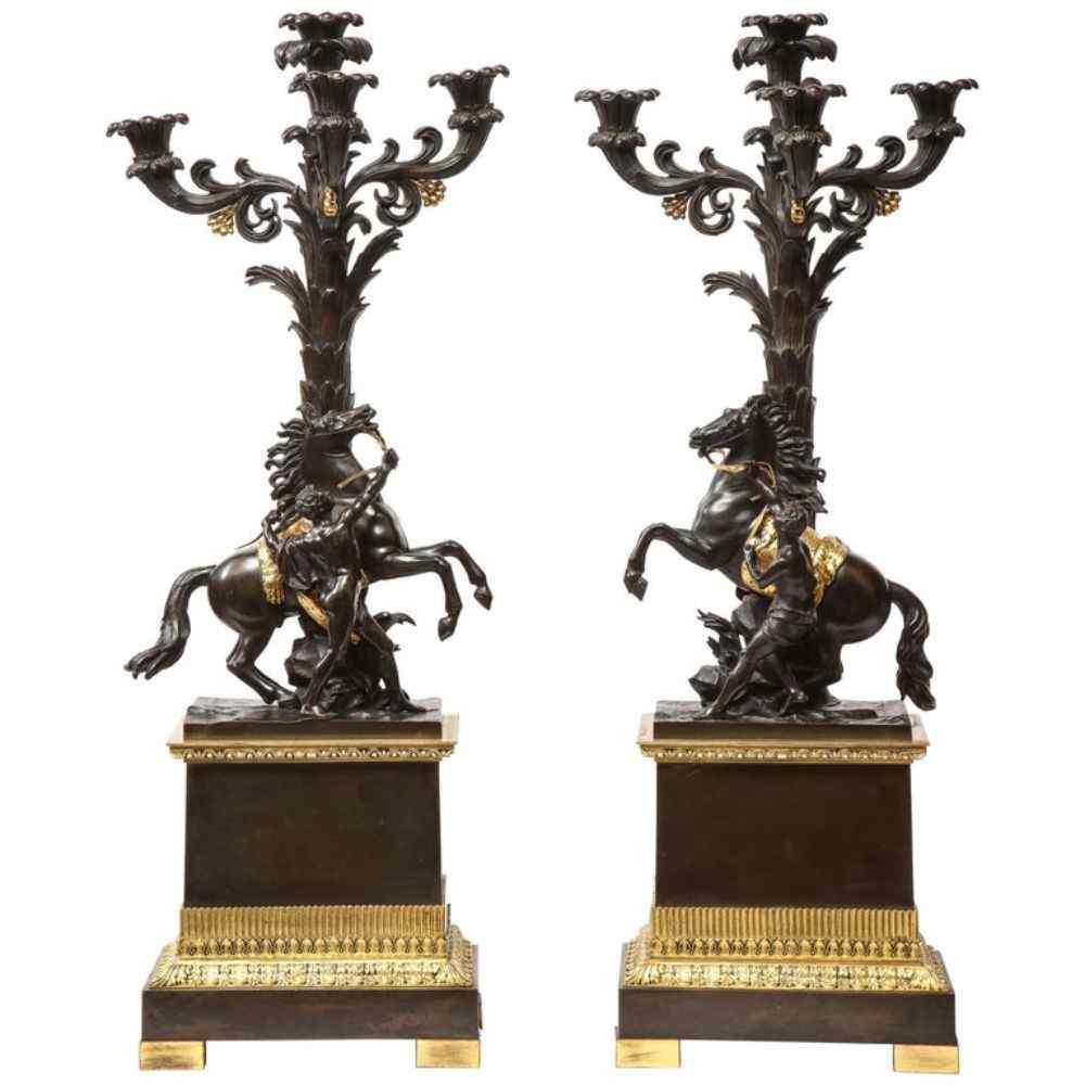 Coppia di grandi candelabri francesi