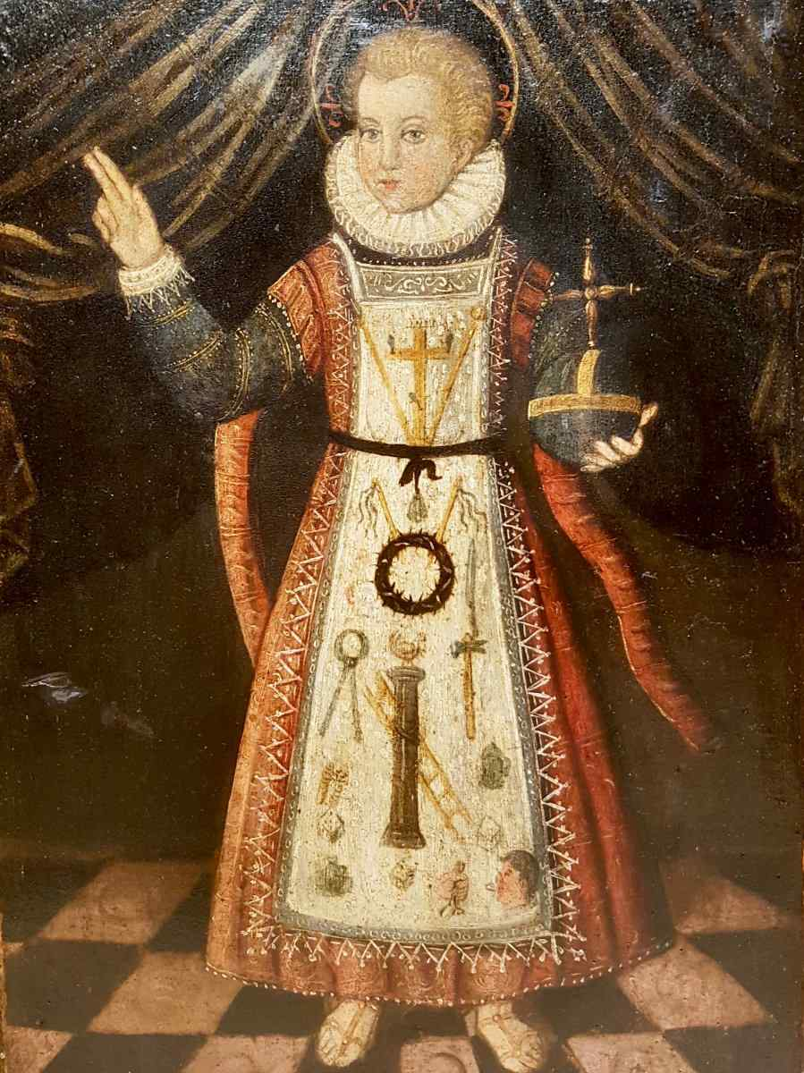 Rara pittura di Cristo Bambino, olio su tavola XVII.