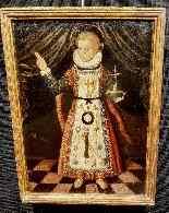 Rara pittura di Cristo Bambino, olio su tavola XVII.-0