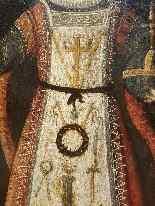 Rara pittura di Cristo Bambino, olio su tavola XVII.-1