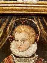 Rara pittura di Cristo Bambino, olio su tavola XVII.-2