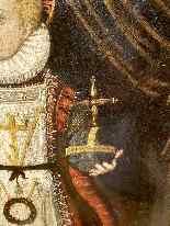 Rara pittura di Cristo Bambino, olio su tavola XVII.-6
