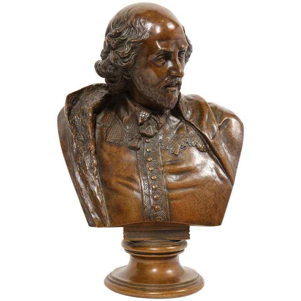 Busto in bronzo tedesco di William Shakespeare di Aktien-Ges