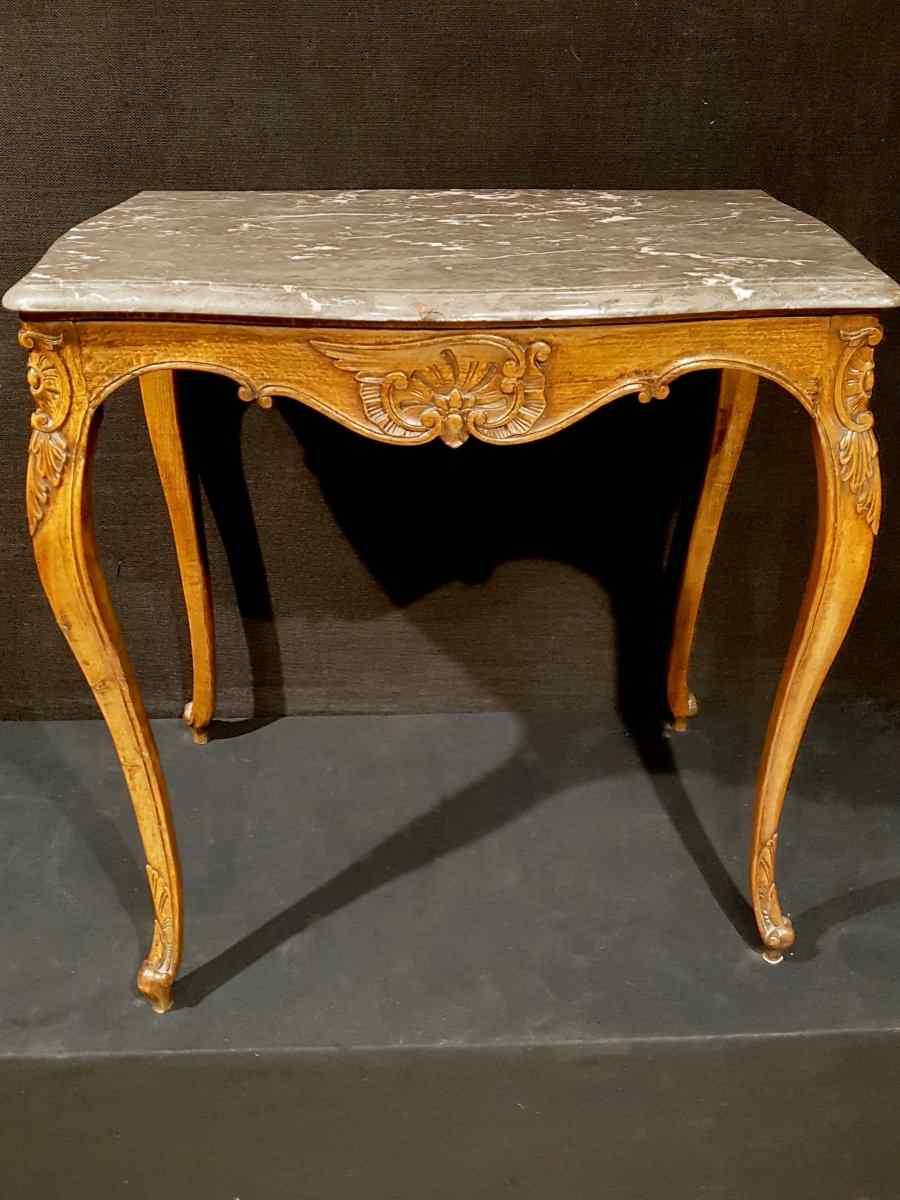 Tavolo medio Luigi XV e il suo marmo, XIX.