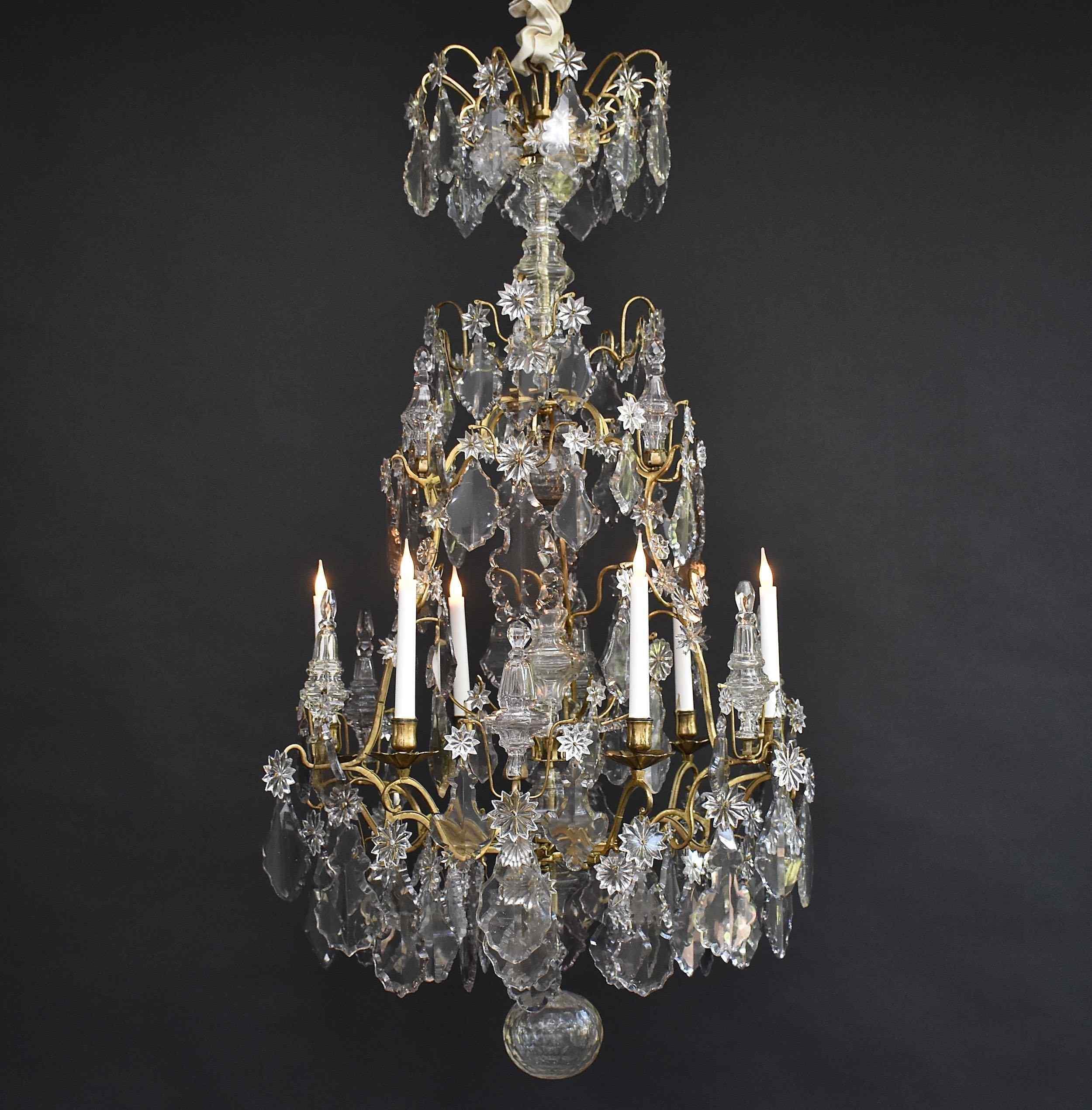18e s. Lustre Louis XV en bronze doré 'cage lustre'