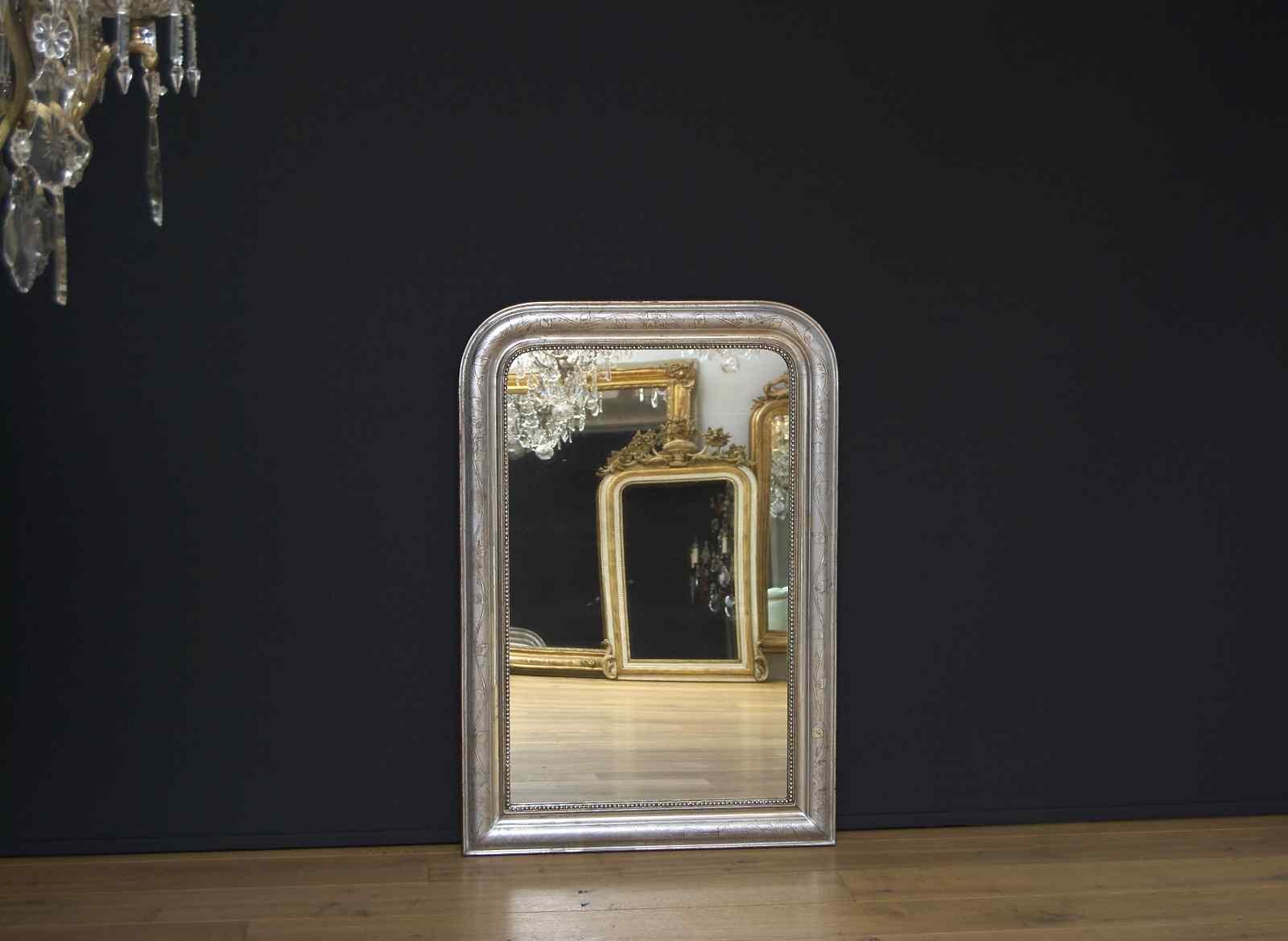 XIX sec. antico specchio argentato francese Luigi Filippo