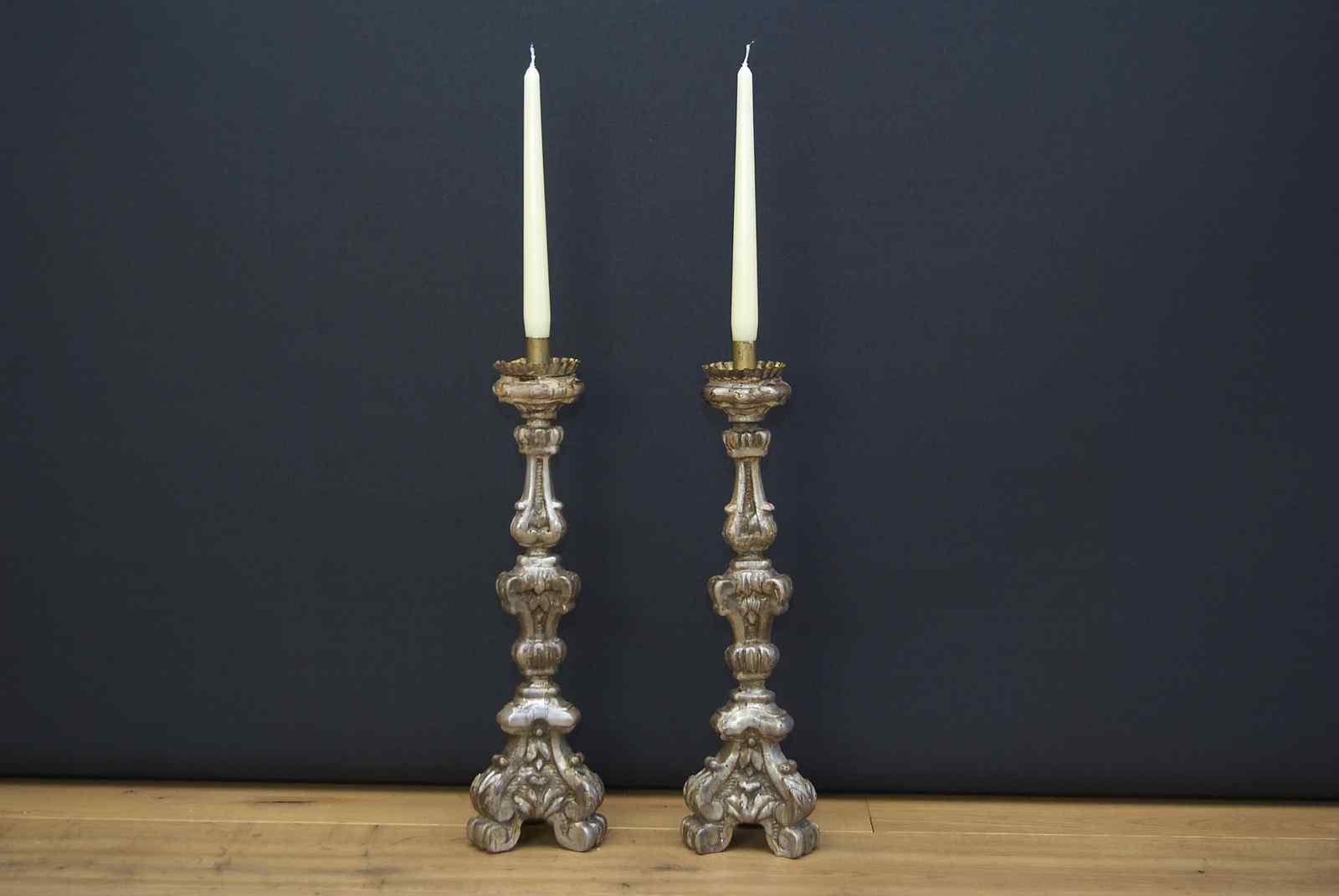 Coppia di candelieri / bastoncini italiani del XIX secolo