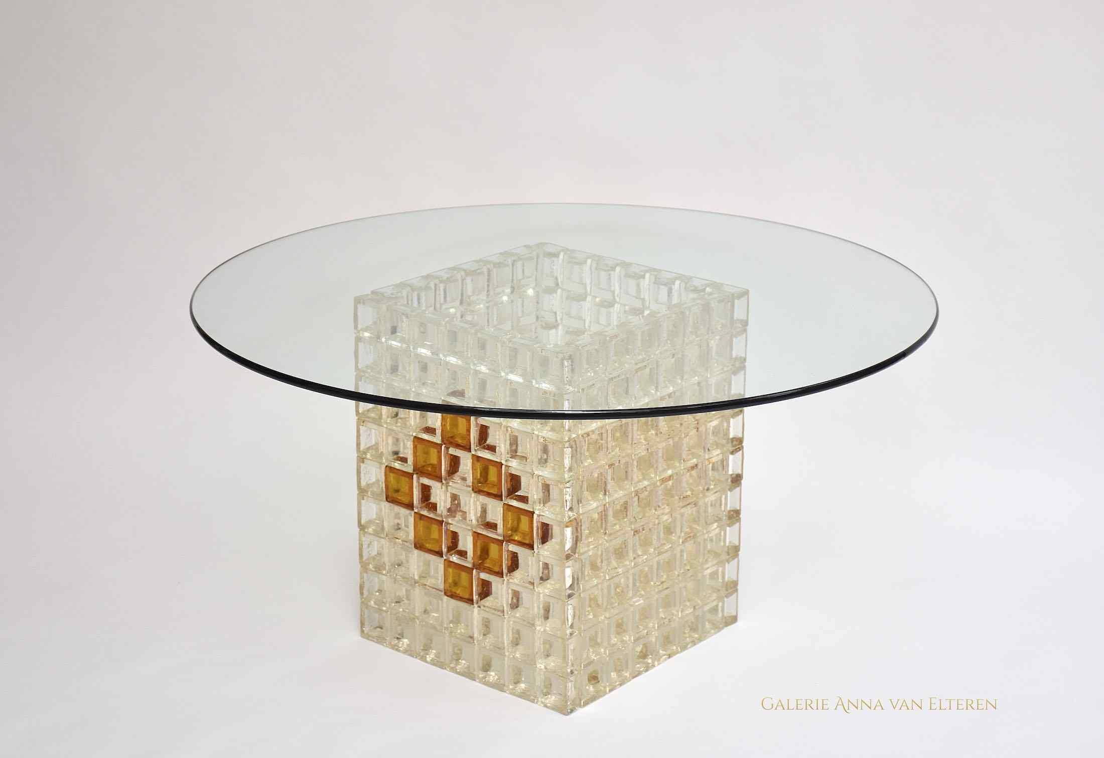 Tavolino da caffè Mid-Century in vetro di Murano di Poliarte