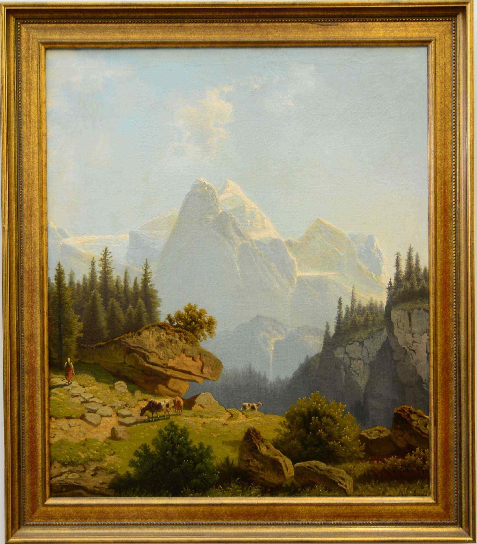 Paesaggio di montagna, olio su tela, Ottocento, 65 x 78 cm