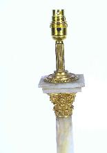 Antique Victorian Ormolu Onyx Corinthian Column Table Lamp-3